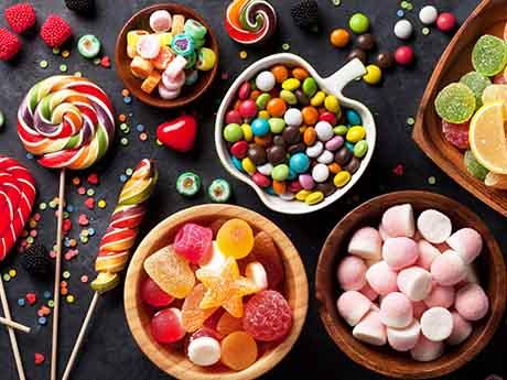 تصویر خوراکی های خوشمزه (آب نبات, مارشمالو, ژله)