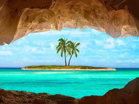 تصویر جزیره ای با درختان نخل کنار ساحل
