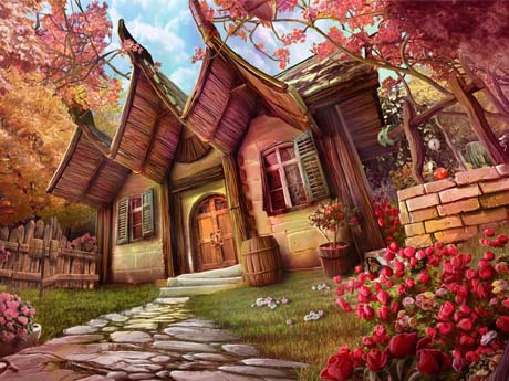 نقاشی فانتزی باغ و خانه
