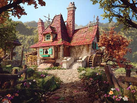 والپیپر نقاشی خانه زیبا در طبیعت